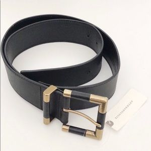 NWT Anthropologie Thick Leather Black Gold Belt